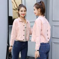 粉色外套女短款甜美少女夹克学生韩版宽松秋春季高腰小个子牛仔衣