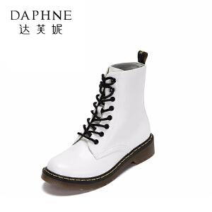 Daphne/达芙妮冬季系带低跟马丁靴女休闲圆头粗跟学院风短筒女靴