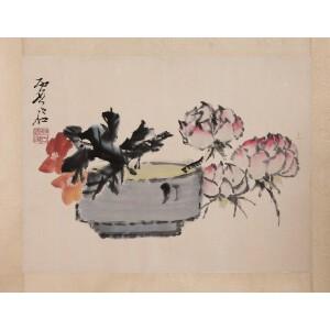 著名画家  虚谷《花卉》