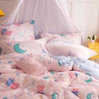 多喜爱家纺新品小猪佩奇全棉双层纱四件套纯棉卡通套件佩奇的美梦
