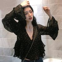 雪纺上衣女夏季防晒宽松小衫短款波点衬衫长袖超仙罩衫甜美打底薄