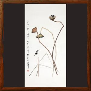 写意画《莲蓬、水鸟》于洪顺,实力派画师 【R4365】