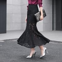 春夏新款女�b�n版蕾�z包臀裙�@瘦一步裙女裙�~尾裙高腰半身裙�L裙
