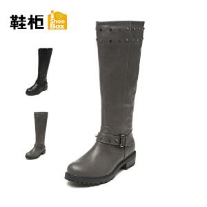 【双十一狂欢购 1件3折】Daphne/达芙妮旗下鞋柜 冬款时尚新潮女鞋平跟圆头高筒女靴
