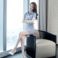 【新品特惠】夏天裙子2019新款款气质条纹衬衣女韩版显瘦OL职业包臀衬衫连衣裙 蓝色条纹