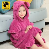 �和�冬季珊瑚�q厚款睡裙中大童睡衣3-5-7-9�q女孩�B帽法�m�q睡袍