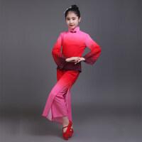 新款儿童古典舞演出服女舞蹈服红高粱伞舞扇子舞秧歌表演服装 红色