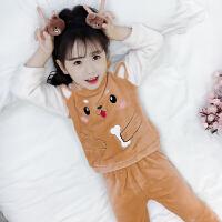 儿童珊瑚绒睡衣长袖秋冬季小女孩女童法兰绒中大童家居服套装