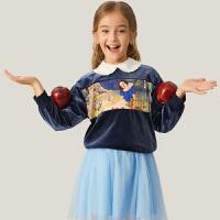 【3件3折价:89.7】安奈儿童装女童卫衣泡泡袖2020秋新款迪士尼白雪公主绒衫宝宝T恤
