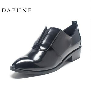 Daphne/达芙妮圆漾系列女鞋 时尚秋英伦风方头低跟帅气布洛克鞋女单鞋