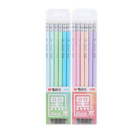 晨光铅笔 30827带橡皮铅笔 木杆铅笔 多色笔身 6角 一盒12支