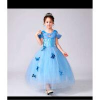 灰姑娘裙子女童连衣裙儿童装灰姑娘冰雪奇缘公主裙女童短袖连衣裙 天蓝