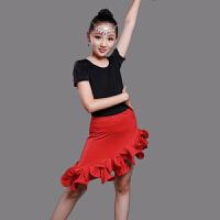儿童拉丁舞裙演出服夏女童舞蹈比赛服装秋季长袖拉丁服练功服体