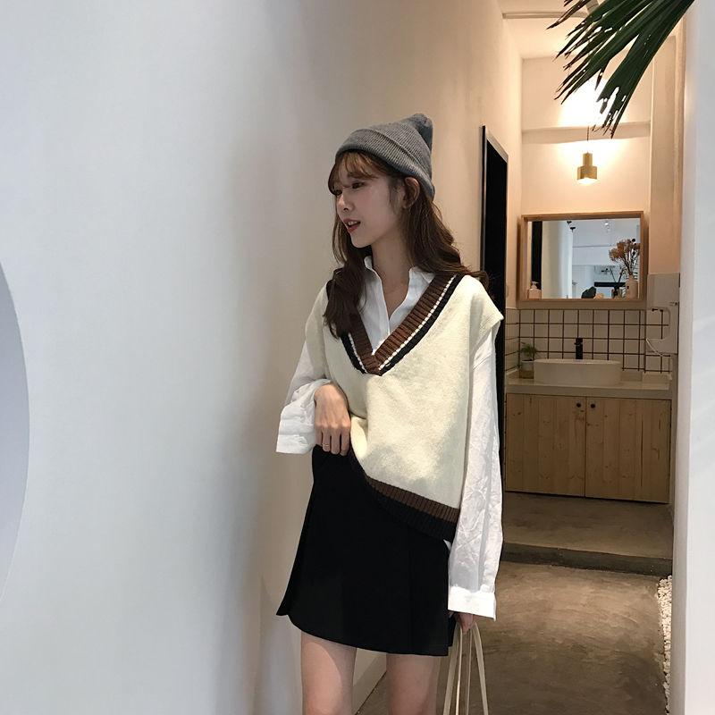 秋冬韩版V领毛衣马甲女学生拼色套头百搭针织马夹背心外套潮