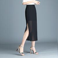 雪纺半身裙长裙女夏气质高腰黑色侧开叉包臀裙纱裙百搭显瘦一步裙