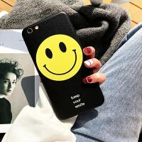 笑脸手机壳苹果6s plus女款可爱iphone7手机壳磨砂硬壳8x黑色简约