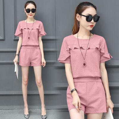 2019夏装新款女装洋气时尚套装女小香风休闲韩版气质条纹两件套潮