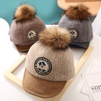 婴儿帽子春秋季薄款毛球宝宝鸭舌帽秋冬季遮阳帽6-12个月