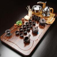 紫砂茶具套装家用简约整套陶瓷功夫茶盘实木喝茶全自动电磁炉茶台 36件