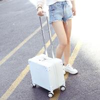 小型登机箱18寸行李箱女小清新旅行箱包男迷你拉杆箱韩版密码箱 乳白色 18寸