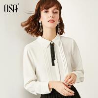 【超品叠券预估价:146】欧莎蝴蝶结白色衬衫女设计感小众修身2020年新款春季时尚长袖上衣