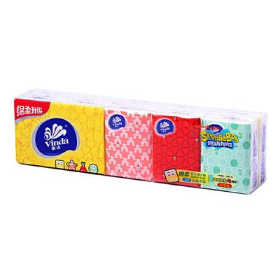 维达 手帕纸 绵柔系列迷你3层自然无香纸手帕 8张/包*10包  自营正品 货到付款