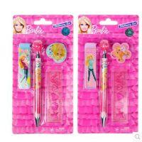 芭比铅笔儿童玫瑰自动铅笔铅芯自动铅笔四件套文具组套装