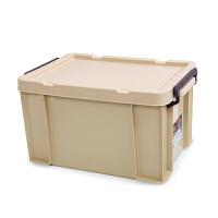 高透明特大号塑料收纳箱加厚装书有盖车载整理箱衣物玩具储物箱子 加固实色卡其 全国(新疆西藏除外)