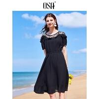 【领券到手价:69.3】欧莎2019夏装新款韩版时尚性感蕾丝黑色中长款荷叶边雪纺连衣裙