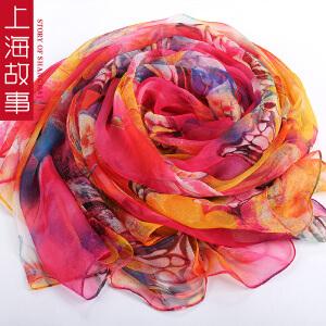 上海故事桑蚕丝春秋夏真丝围巾丝巾纱巾女长款围巾披肩沙滩巾