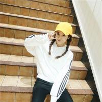 韩版ins学院风百搭连帽套头卫衣女冬装加绒加厚条纹运动休闲上衣