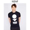 NSNF银色几何图形纯棉黑色圆领T恤男修身  男装2017短袖新款 修身圆领针织短袖