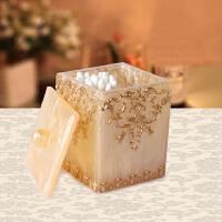 欧式创意客厅牙签盒时尚便携牙签筒棉签盒树脂可爱牙签罐家居用品zY 珍珠花黄 6.6*8
