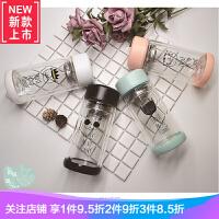 韩版男生酷帅个性情侣水杯一对创意简约便携女学生滤网玻璃杯 +布袋