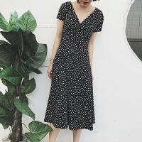 2018新款法式显瘦黑白波点长款夏季连衣裙冷淡风极简复古收腰裙子