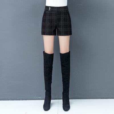 毛呢短裤女2019秋季新款高腰韩版显瘦a字裤外穿秋冬款格子靴裤子 黑色