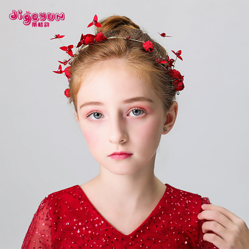 儿童礼服配饰头花发饰节日演出头饰女孩花童婚纱红色头花花环发箍