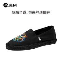 jm快乐玛丽夏季新款潮设计师涂鸦麻底一脚蹬潮鞋帆布男鞋
