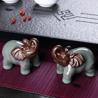 复古大象摆件风水象一对客厅博古架家里装饰小号陶瓷摆件 一对