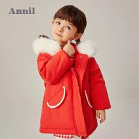 【2件4折�A估券后�r:165元】安奈�和��b女童棉衣中�L款2020冬新款洋�庑〖t帽加厚保暖����外套