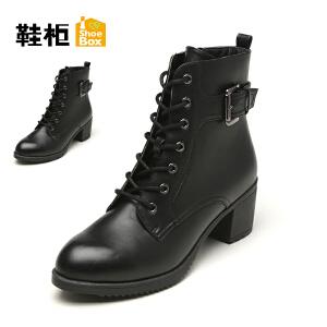 【双十一狂欢购 1件3折】Daphne/达芙妮旗下鞋柜 冬韩版时尚女鞋潮圆头粗跟侧拉链短靴