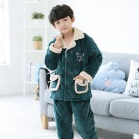 儿童冬季睡衣男童法兰绒厚款睡衣中大童韩版冬季三层夹棉保暖睡袄