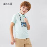 【活动价:84.5】安奈儿童装男童翻领Polo衫2020夏季新款薄韩版男孩假吊带网红上衣