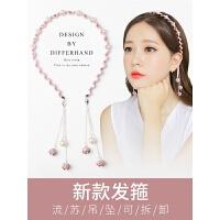 带假耳环的发箍韩国简约流苏带坠发窟吊坠女发卡头箍甜美发饰头饰