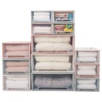 日式收纳箱抽屉式衣柜收纳盒纯色透明塑料整理箱衣服收纳箱储物箱 大号38L-白色