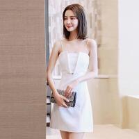 晚礼服短款2018新款吊带抹胸聚会主持人模特小礼服连衣裙显瘦女 白色 S