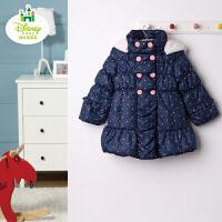 迪士尼宝宝俏丽小甜妞中长款羽绒服 外出服 宝宝衣服 冬装外套
