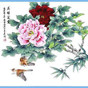 北京美协会员,北京市著名工笔画画家凌雪(花开富贵)
