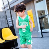 男童运动套装夏装2018新款无袖背心男中大童宝宝运动服儿童篮球服 绿色(5字款) 90cm(吊牌90码 建议身高0.8