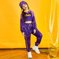 爵士舞舞蹈服女童韩版秋季儿童街舞套装嘻哈服装潮酷舞台表演服 紫色套装(上衣+裤子+背心+帽) 包含帽子